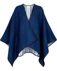 Burberry Cape Icon Stripe aus Wolle - Blau