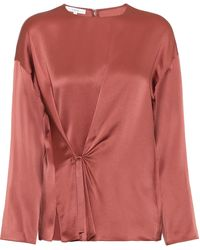 Vince Silk-satin Blouse - Red
