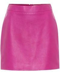 Saint Laurent Minirock aus Leder - Pink