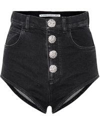 Alessandra Rich High-waisted Denim Shorts - Black