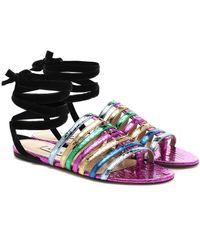 The Attico Metallic Leather Sandals - Multicolor
