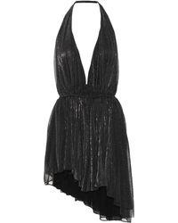 Saint Laurent Asymmetric Striped Lamé Halterneck Mini Dress - Black