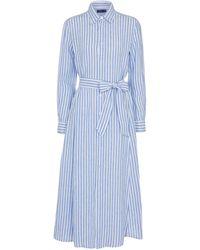 Polo Ralph Lauren Striped Linen Shirt Dress - Blue