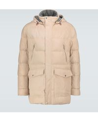 Brunello Cucinelli Suede Parka Jacket - Natural
