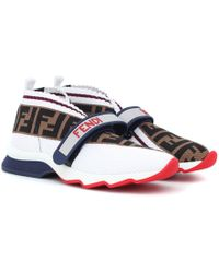 Fendi - Leather-trimmed Mesh Sneakers - Lyst