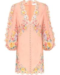 Zimmermann Zinnia Scallop Mini Dress - Pink