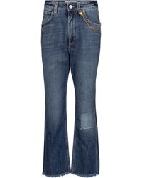 Givenchy Chain-trimmed Cropped Straight Jeans - Blue