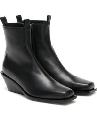 Ann Demeulemeester Leather Square Toe Boots - Black