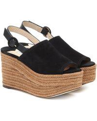 Jimmy Choo Deya Suede Platform Sandals - Black