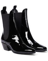 Khaite Saratoga Patent Leather Ankle Boots - Black
