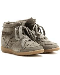 Isabel Marant Bobby Suede Wedge Sneakers - Green