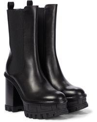Versace Ankle Boots Greca Labyrinth aus Leder - Schwarz