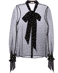 Saint Laurent Blusa de seda de lunares - Negro