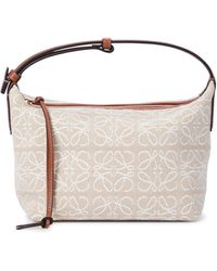 Loewe Cubi Small Anagram Leather-trimmed Tote - Natural