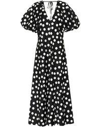 Lee Mathews Robe Longue En Coton À Pois Cherry Spot - Noir