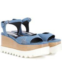Stella McCartney Elyse Denim Platform Sandals - Blue