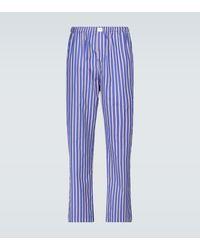 Balenciaga Striped Pajama Pants - Blue