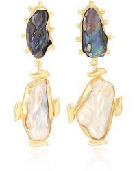 Peet Dullaert Vergoldete Ohrringe Riya mit Barockperlen und Zierperlen - Mehrfarbig