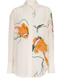 Victoria Beckham Bedrucktes Oversize-Hemd aus Seide - Weiß