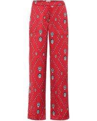 Kirin Pantaloni a stampa in raso - Rosso