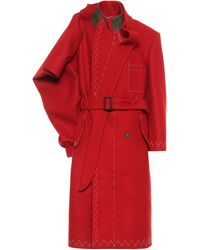 Maison Margiela Deconstructed Wool Trench Coat - Red