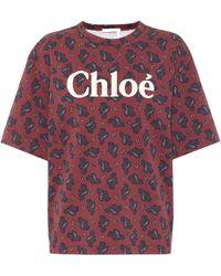 Chloé Camiseta de punto fino estampada - Marrón
