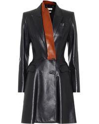 Alexander McQueen Vestido corto de piel - Negro