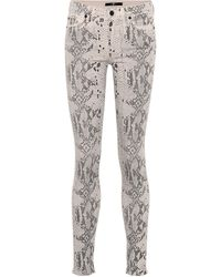 7 For All Mankind Coated Jeans The Skinny - Weiß