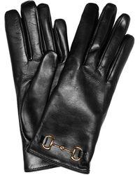 Gucci Horsebit Leather Gloves - Black