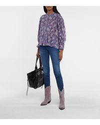 Étoile Isabel Marant Adigra Floral Cotton Blouse - Purple