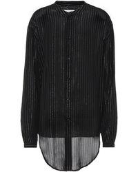 Saint Laurent Camisa metalizada de rayas - Negro