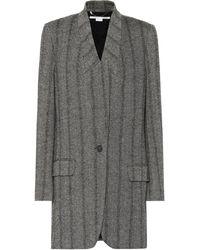 Stella McCartney Herringbone Wool-blend Coat - Black