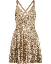 Dolce & Gabbana Vestido corto de lentejuelas - Metálico