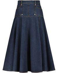 Alexander McQueen Pleated Denim Midi Skirt - Blue