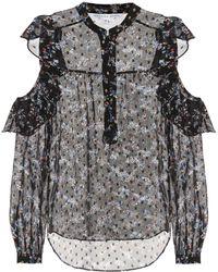 Veronica Beard Cora Printed Silk-blend Blouse - Black