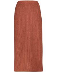 Loro Piana Davenport Cashmere Midi Skirt - Red