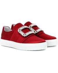 Roger Vivier Sneaky Viv' Satin Slip-on Sneakers - Red