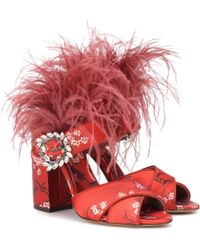 Tabitha Simmons X Johanna Ortiz Reyner Feather-trimmed Sandals - Red