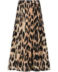 Ganni Leopard-print Georgette Midi Skirt - Natural