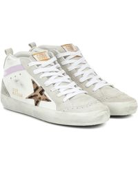 Golden Goose Mid Star Leather And Suede Sneakers - White