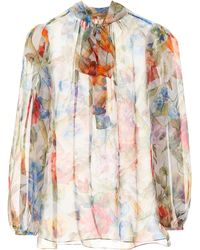 81e1397adcb3ef Dolce & Gabbana Tie-neck Semi-sheer Chiffon Blouse in Blue - Lyst