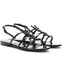 Saint Laurent Cassandra Open Sandals Patent Leather - Schwarz