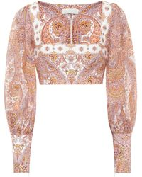 Zimmermann Exclusive To Mytheresa – Paisley Ramie And Linen Cropped Blouse - Pink