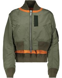 Sacai Cropped Bomber Jacket - Green