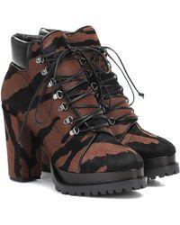 Alaïa Zebra-print Calf Hair Ankle Boots - Brown