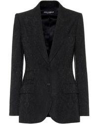 Dolce & Gabbana Floral-jacquard Blazer - Black