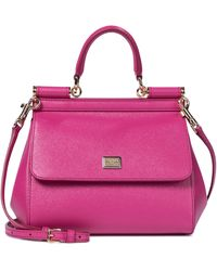 Dolce & Gabbana - Sicily Dauphine Small Leather Tote - Lyst