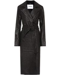GRLFRND Lori Leather Trench Coat - Black