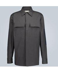 Bottega Veneta Structured Cotton Overshirt Jacket - Grey