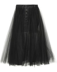 Unravel Project Denim And Tulle Skirt - Black